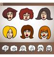 cartoon women heads set vector image vector image