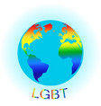 Globe symbol with lgbt rainbow colored world map vector image