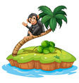 A monkey above the coconut tree vector image vector image