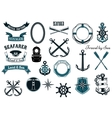 Nautical and marine heraldic elements vector image vector image