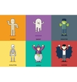 Halloween Party Roles Characters Icons Set Stylish vector image