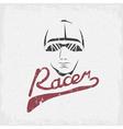head of racer vintage grunge design template vector image