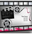 Background with film and clubboard Vector Image