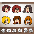cartoon women heads set vector image