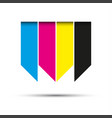 hanging ribbons in cmyk colors with shadows vector image