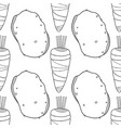 seamless black and white pattern with carrots and vector image