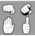 Set of hands in many and different gesture vector image