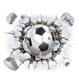Soccer ball and Old Plaster wall damage vector image