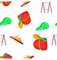Swings for kid pattern cartoon style vector image