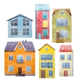 Watercolor hand drawn houses vector image