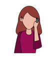 woman calling by cellphone vector image