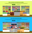 Supermarket Interior Banners vector image