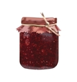 Bank from glass for jam raspberry with cover vector image