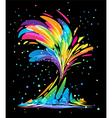 Colored splash on black vector image