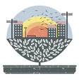 cute image with tree in pot and little town with vector image