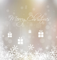 Merry Christmas with snowflake and gift box card vector image