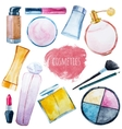 Watercolor cosmetics set vector image