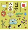 Seamless Japanese symbols yellow background vector image