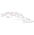 Cuba Black White Map vector image