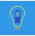 Bulb with solar battery as eco energy sign vector image