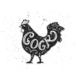 Cock letttering in silhouette vector image