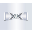Elegant White Silk Bow with Diamond vector image