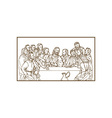 last supper Jesus Christ savior disciples apostles vector image