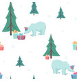 polar bear gift box xmas tree green blue white vector image