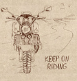 Retro sketch with motorbike vector image
