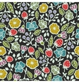 Seamless pattern with plants and flowers on the vector image