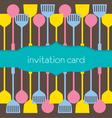Utensils Pattern Invitation Card vector image