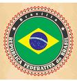 Vintage label cards of Brazil flag vector image