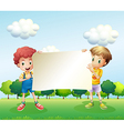 Two boys holding an empty signboard vector image vector image