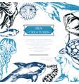 sea creatures - color vintage postcard template vector image