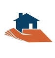 Person holding a house in their hand vector image