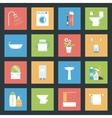 Bathroom flat icons set vector image