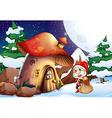 Santa outside the mushroom house vector image vector image