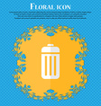 The trash Floral flat design on a blue abstract vector image