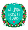 Greeting card with floral frame and hearts vector image