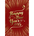 Happy chinese new year monkey 2016 text gold vector image