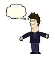 cartoon happy man with open arms with thought vector image