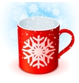 Red Cup and Snowflake vector image