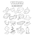 Timber industry icons set outline ctyle vector image