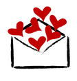 Red hearts in the envelope vector image vector image