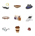 Subculture hipsters icons set flat style vector image vector image