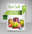 Brochure Design Template with Green Christmas vector image vector image