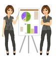 beautiful businesswoman standing near flip board vector image