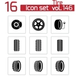 black tire icons set vector image