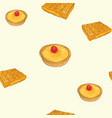 creme brulee tart and waffle sketch pattern vector image