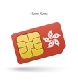 Hong Kong mobile phone sim card with flag vector image
